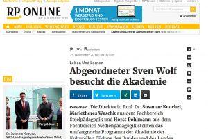 Aktion vor Ort: MdL Sven Wolf (SPD) besuchte die Akademie der Kulturellen Bildung des Bundes und des Landes NRW